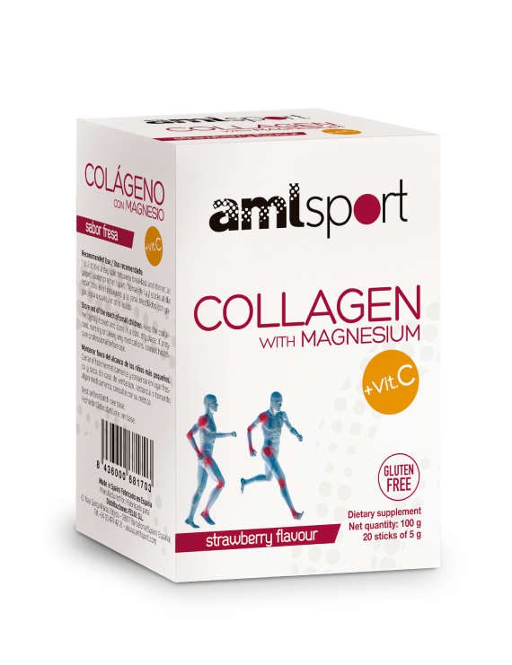 Collagen with Magnesium and Vit. C |Powder Sticks with Strawberry Flavour, AML Sport